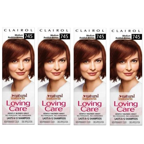 Clairol Loving Care '#745 Medium Reddish Brown' Hair Color (Pack of 4)