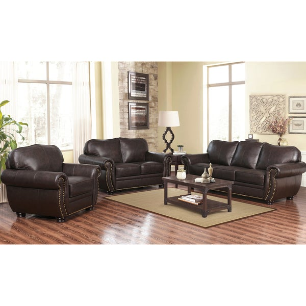 Abbyson Richfield Top Grain Leather Living Room Sofa Set