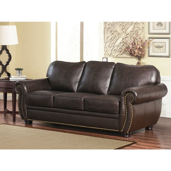 Abbyson Richfield Top Grain Leather Living Room Sofa Set   Free Shipping  Today   Overstock.com   13651249