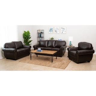 Abbyson Richfield Brown Top Grain Leather 3 Piece Living Room Sofa Set
