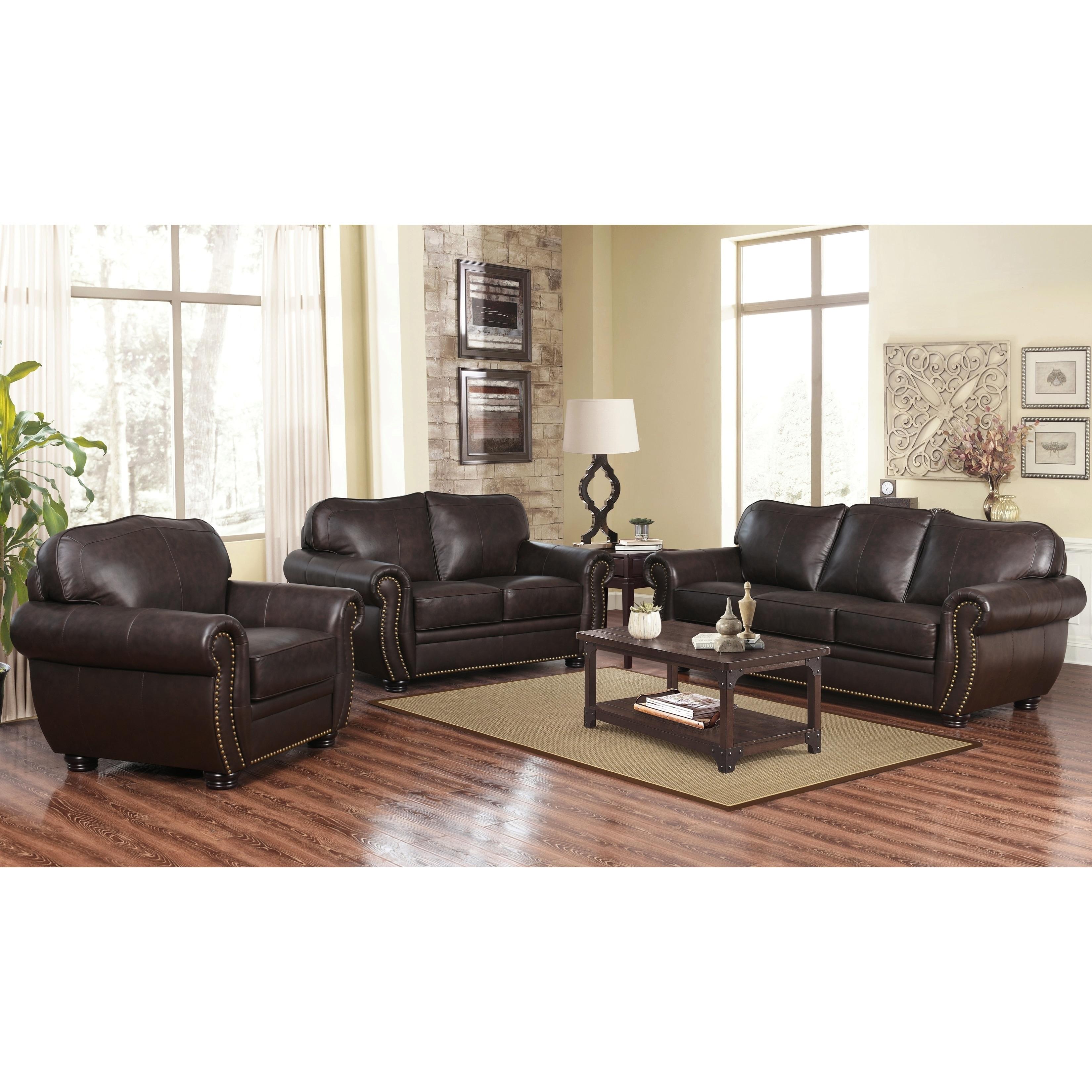 Terrific Abbyson Richfield Brown Top Grain Leather 3 Piece Living Room Sofa Set Ibusinesslaw Wood Chair Design Ideas Ibusinesslaworg