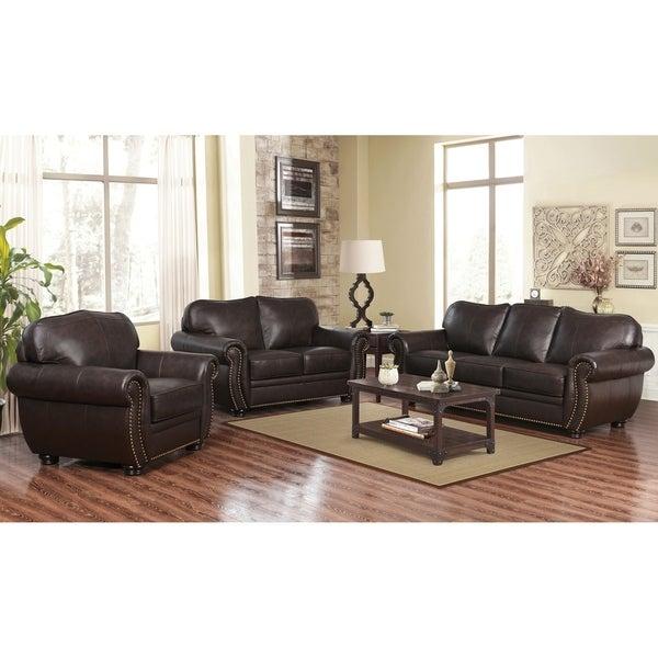 Shop Abbyson Richfield Brown Top Grain Leather 3 Piece Living Room ...