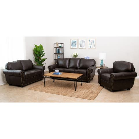Abbyson Richfield Brown Top Grain Leather 3 Piece Living Room Sofa Set