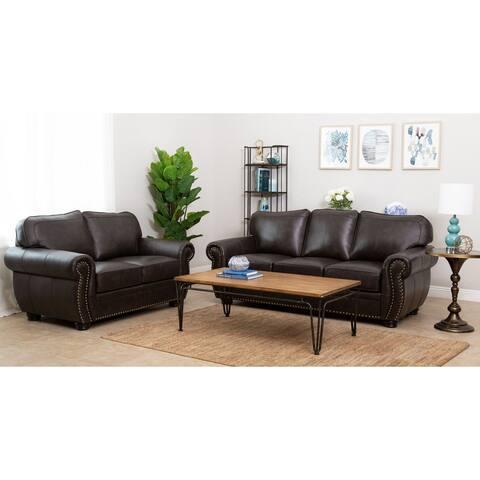 Abbyson Richfield Brown Top Grain Leather 2 Piece Living Room Set