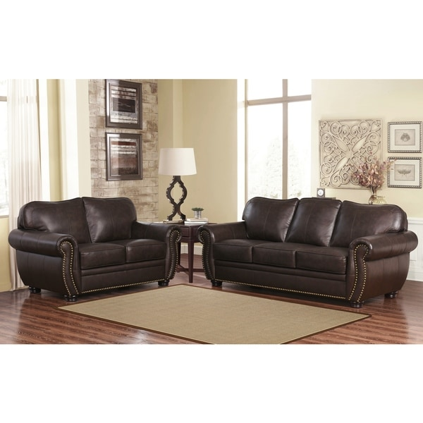 Shop abbyson richfield top grain leather 2 piece living room set on sale free shipping today 2 piece leather living room set