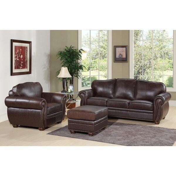 Abbyson Richfield Premium Top-grain Leather Sofa, Armchair, and Ottoman Set
