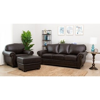 Abbyson Richfield Top Grain Leather 3 Piece Living Room Set