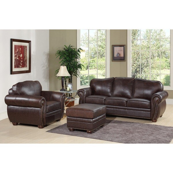 Bon Abbyson Richfield Top Grain Leather 3 Piece Living Room Set