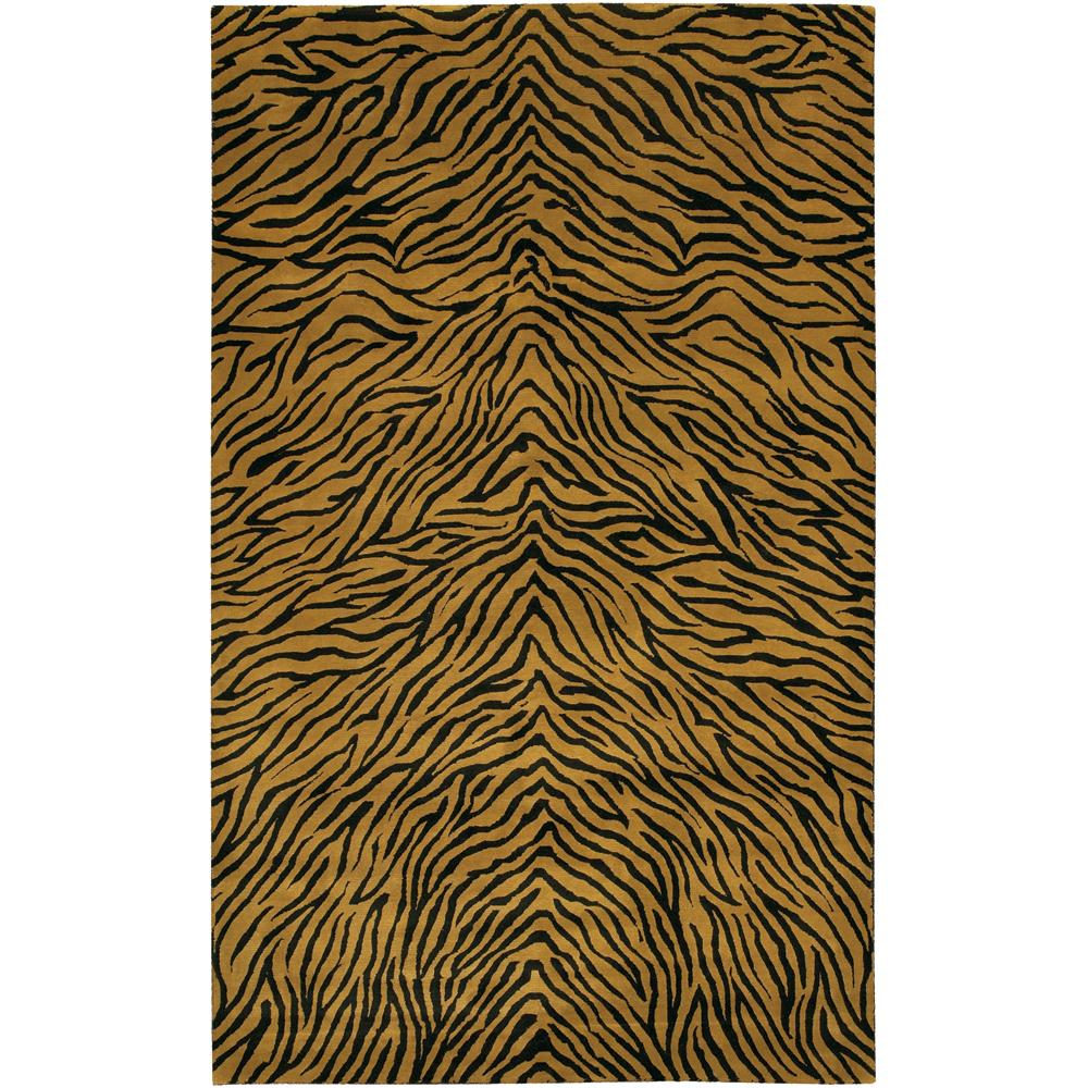 Contemporary Hand-Knotted Mandara Gold New Zealand Wool Rug (6' x 9')