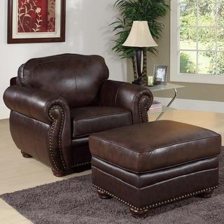 Abbyson Richfield Premium Top-grain Leather Armchair and Ottoman Set