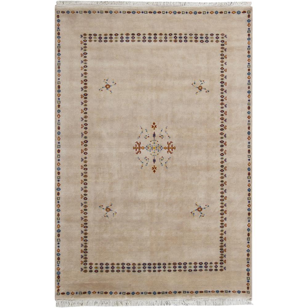 Hand-knotted Mandara Abstract Tan New Zealand Wool Rug (5' x 7'6)