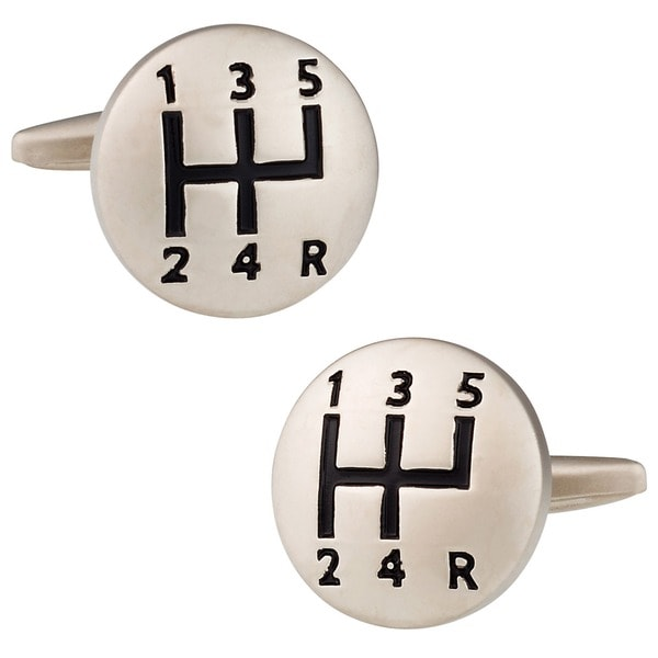 Cuff Daddy Silvertone Gear Shift Cuff Links