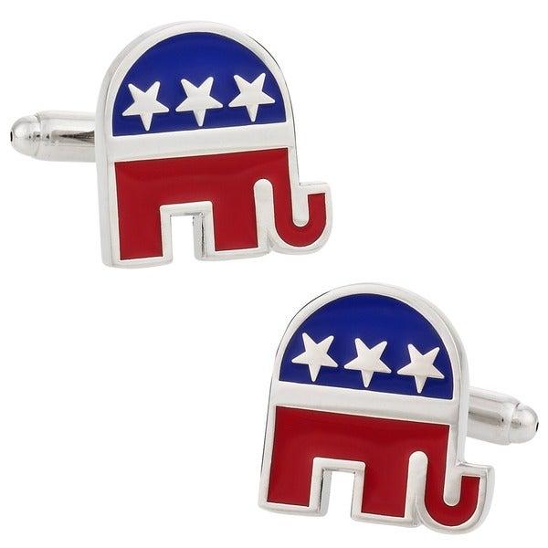 Cuff Daddy Silvertone Republican Elephant Cuff Links