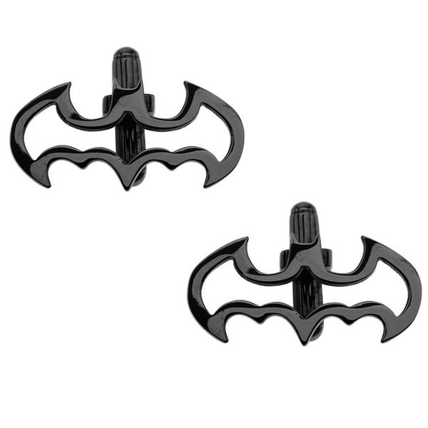 Polished Stainless Steel Bullet-back-clasp Batman Cuff Links