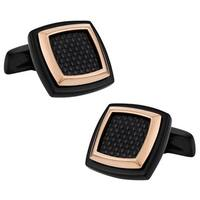 Cuff Daddy Black-plated Stainless Steel and Copper Cuff Links