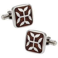 Cuff Daddy Stainless Steel Ornate Wood Cuff Links