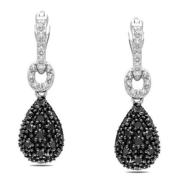 Miadora Sterling Silver 3/8ct TDW Black and White Diamond Earrings