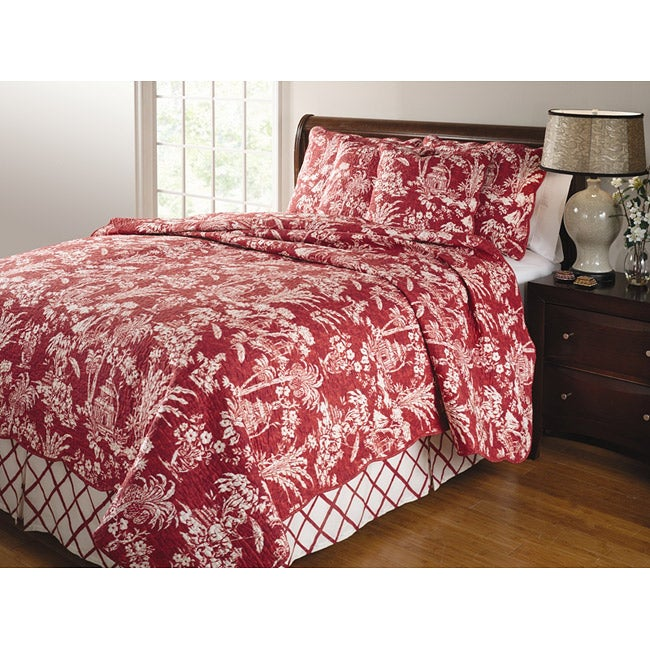 Greenland Home Fashions Mandarin Red 4-piece Quilt Set