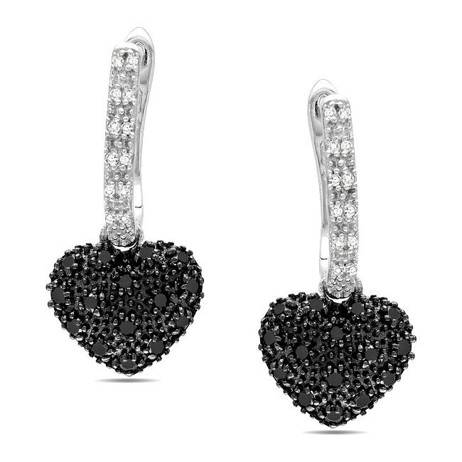 Miadora Sterling Silver 3/8ct TDW Black and White Diamond Earrings (G-H, I3)