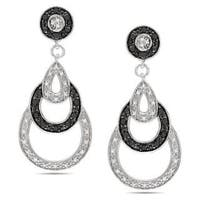 Miadora Sterling Silver 2/5ct TDW Black and White Diamond Earrings