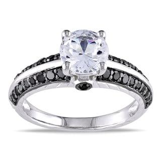 Miadora Sterling Silver 2/5ct Black Diamond and White Sapphire Ring