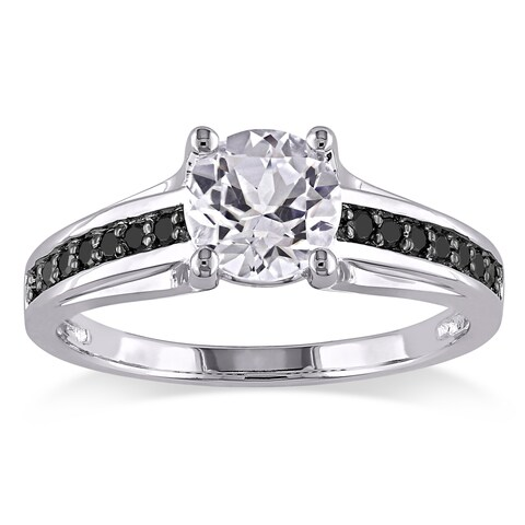 Miadora Sterling Silver with Black Rhodium Created White Sapphire and 1/6ct TDW Black Diamond Engagement Ring