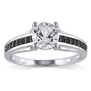 Sterling Silver with Black Rhodium Created White Sapphire and 1/7ct TDW Black Diamond Engagement Rin