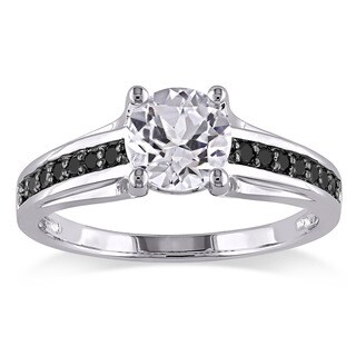Miadora Sterling Silver with Black Rhodium Created White Sapphire and 1/6ct TDW Black Diamond Engagement Ring (More options available)