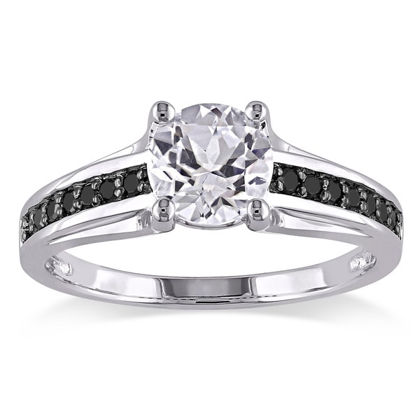 Sterling Silver with Black Rhodium Created White Sapphire and 1/7ct TDW Black Diamond Engagement Ring