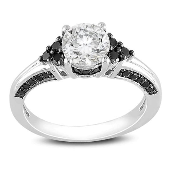 Miadora Sterling Silver 3/8ct Black Diamond and White Sapphire Ring