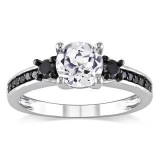 Miadora Sterling Silver 1/3ct TDW Black Diamond and White Sapphire Ring