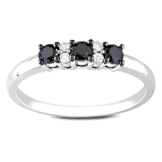 10k White Gold 1/3ct TDW Black and White Diamond Ring (G-H, I2-I3)