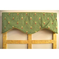 Flower Pot Embroidered Green Valance