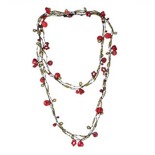 Cotton Rope 3-strand Red Coral and Brass Bead Necklace (Thailand)