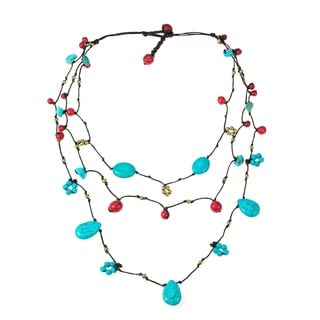Cotton Turquoise, Coral and Pearl Brass Bead Necklace (7 mm) (Thailand)