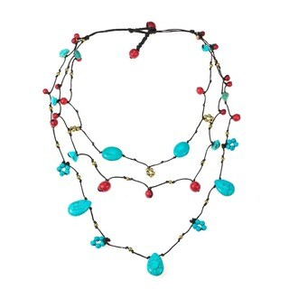 Handmade Teardrop Oval Donut Turquoise Pearl Brass Necklace (Thailand)