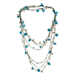 Handmade Cotton Rope 3-strand Turquoise and Brass Beads Necklace (Thailand)