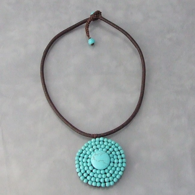 Handmade Cotton Rope Round Reconstructed Turquoise Choker (Thailand)