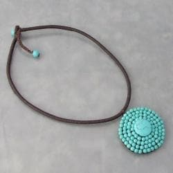 Handmade Cotton Rope Round Reconstructed Turquoise Choker (Thailand) - Thumbnail 1