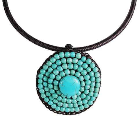 Handmade Cotton Rope Round Turquoise Choker Necklace (Thailand)