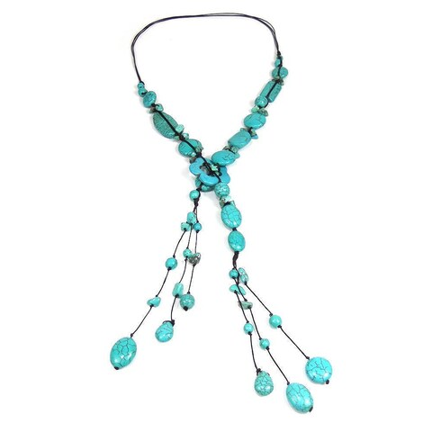 Handmade Cotton Rope Simulated Turquoise Flower Necklace (Thailand) - Blue