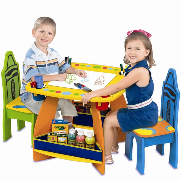 Crayola Wooden Desk And Chairs Set by Crayola