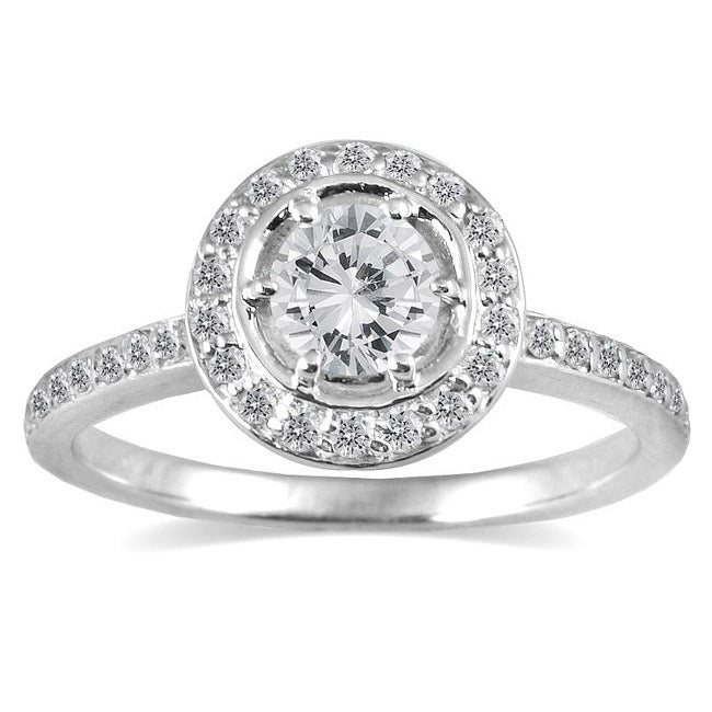 Marquee Jewels 14k White Gold 3/4ct TDW Diamond Halo Engagement Ring (I-J, I1-I2) - Thumbnail 0