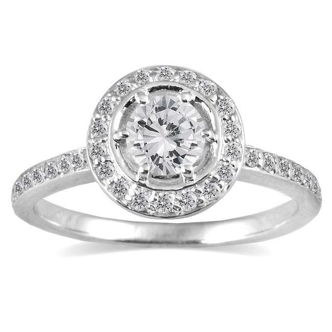 Marquee Jewels 14k White Gold 3/4ct TDW Diamond Halo Engagement Ring (I-J, I1-I2)