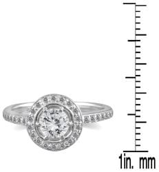 Marquee Jewels 14k White Gold 3/4ct TDW Diamond Halo Engagement Ring (I-J, I1-I2) - Thumbnail 2