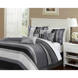 Madison Park Laurel Stripe Grey 7-piece Comforter Set
