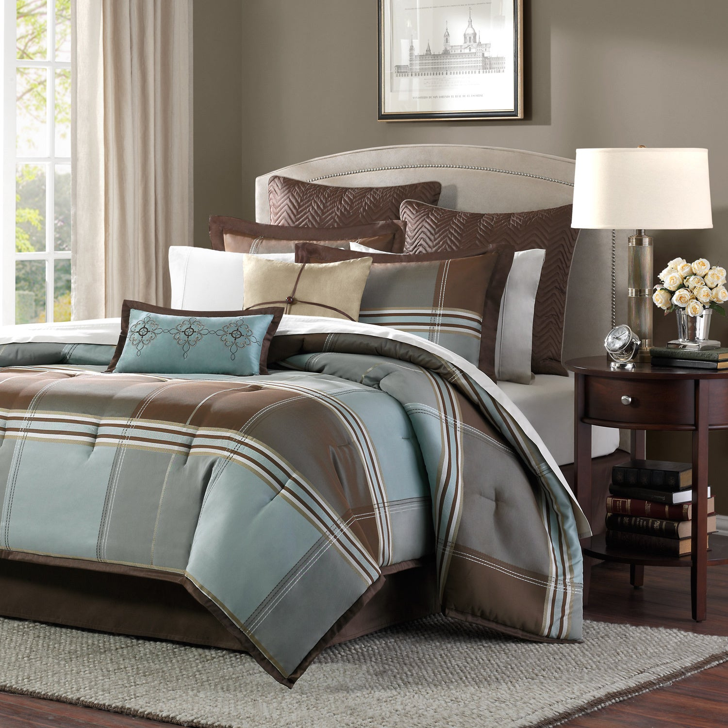 Madison Park Davenport Blue Brown 8 Piece Comforter Set Free