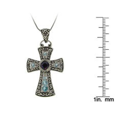 Sterling Silver Cubic Zirconia Filigreed Cross Necklace