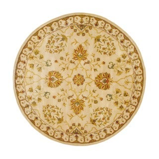 Herat Oriental Indo Hand-tufted Ivory/ Gold Floral Wool Rug (8' Round)