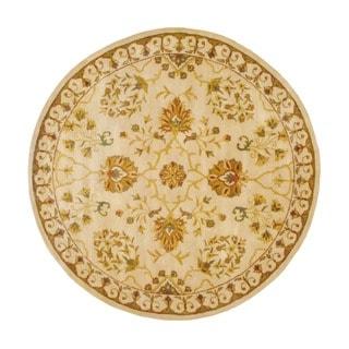 Herat Oriental Indo Hand-tufted Floral Wool Round Rug (8' x 8')
